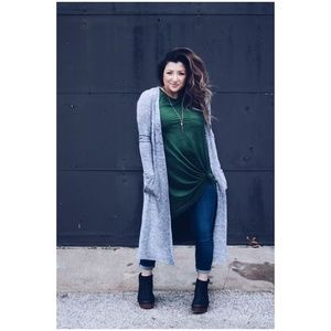 LULAROE Marled Gray Knit Sarah Cardigan Sweater E4